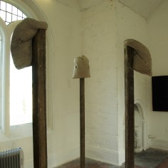 Wayne Elkins, 'Hang', wood and concrete 2015; Clare Thatcher, 'Spar Cave, Isle of Skye (entrance), oil on wood and burlap, 2015